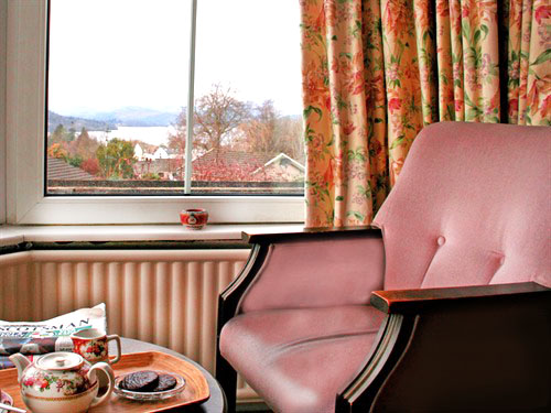 Enjoy a seat by the window with a tea tray.