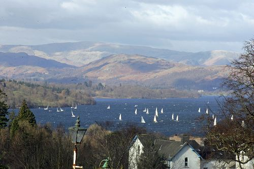A view of yachts bobbing about Lake Windermere from our lounge windows