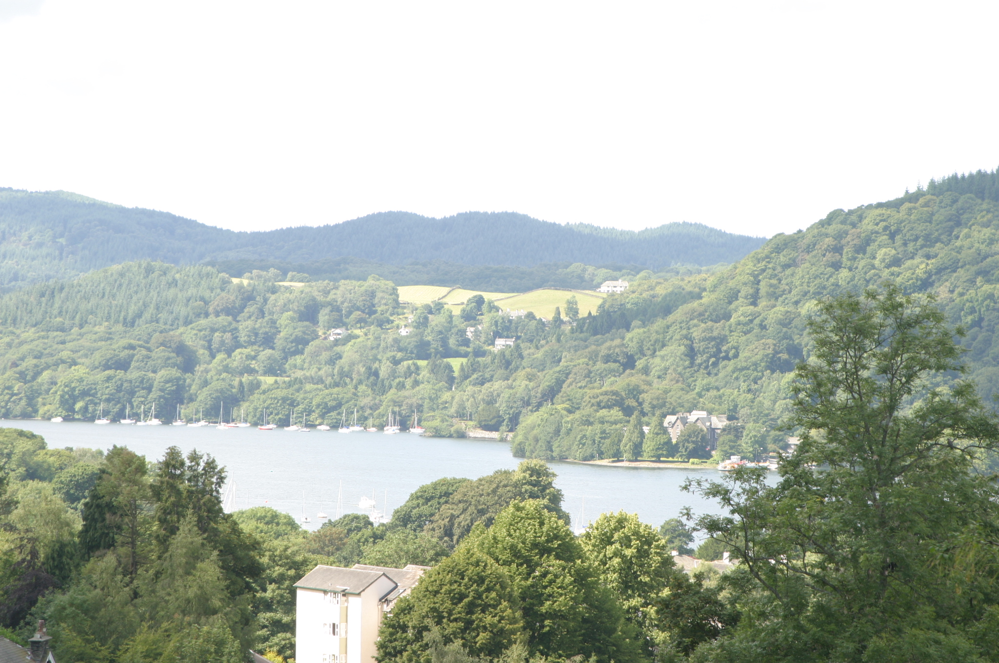 Lake Windermere surrounded by hills.