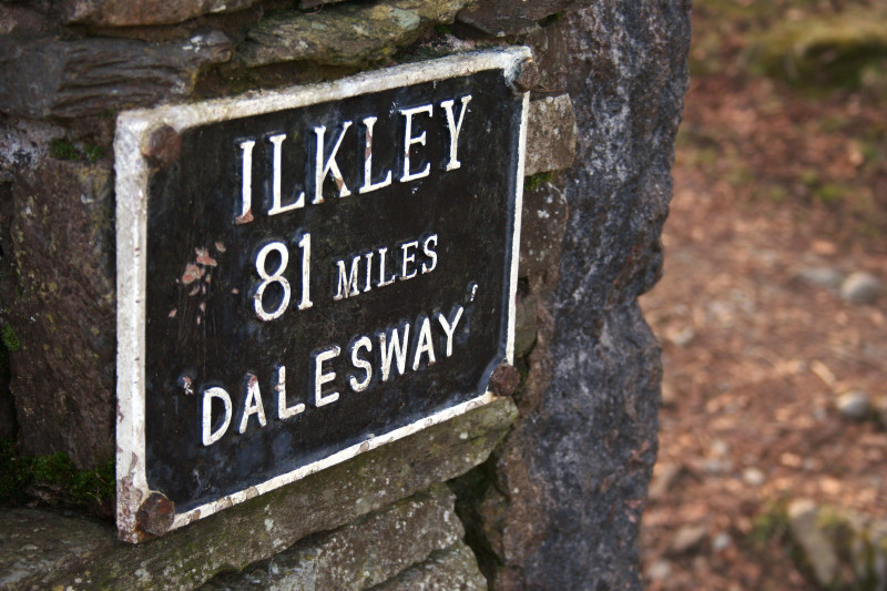 The sign for The Dales Way near Blenheim Lodge, Bownesss-on-Windermere.