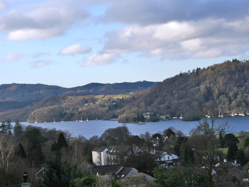 lake windermere view from blenheim lodge, bowness on windermere, lake district
