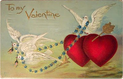 valentine's card, doves and hearts
