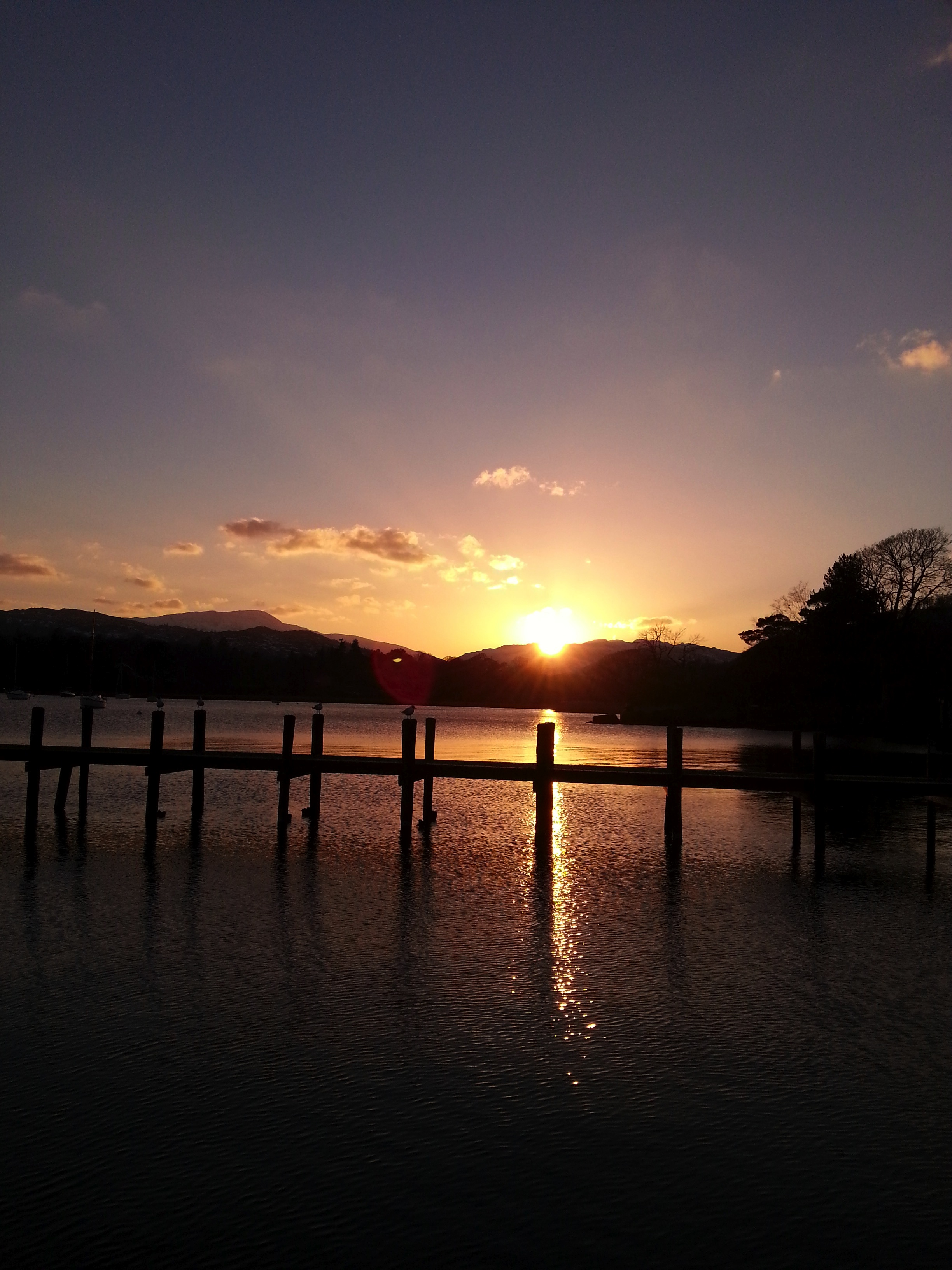 Sunset at Waterhead, Lake Windermere, Lake District.