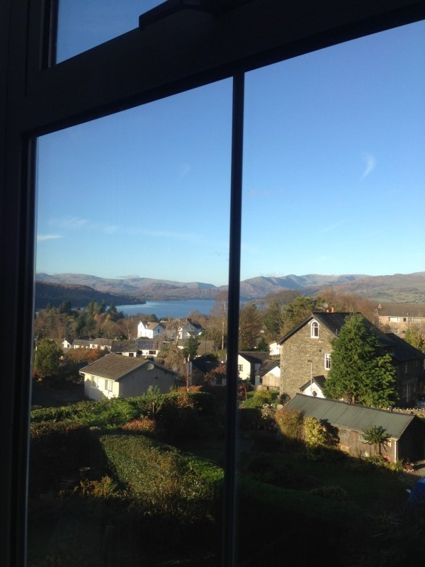 The view of Lake Windermere and fells over Old Bowness taken from The Fairfield room at Blenheim Lodge, Bowness-on-Windermere, Lake District National Park, taken on 22 November 2013.