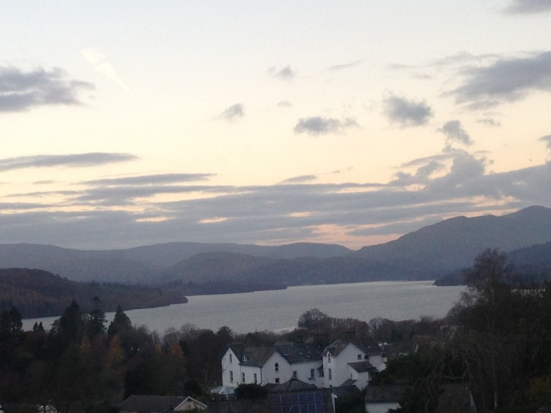 This view of Lake Windermere and the fells looking over Old Bowness from one of several window panes in The Langdale 4-poster room was taken today from Blenheim Lodge in Bowness-on-Windermere, Lake District.