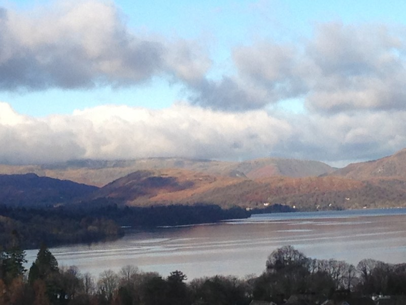 This image of Lake Windermere and fells was captured today from The Eyrie, our shower en-suite single room on the second floor of our house.