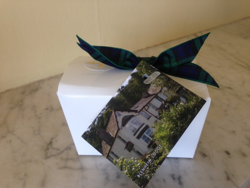 A Black Watch tartan ribbon, a sticker that proclaims these chocolate truffles to be handmade in Scotland, and a photo of Blenheim Lodge, our B and B, tells a quick tale of the Scottish man and his wife who now run a Lake District Bed and Breakfast called Blenheim Lodge in Cumbria.