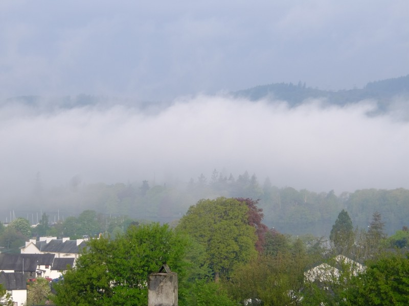 View taken from The Eyrie bedroom at Blenheim Lodge in early May 2014. You can just about see Lake Windermere which is indicated by the yacht masts, with the Claife Heights mountains peeping over the inversion.