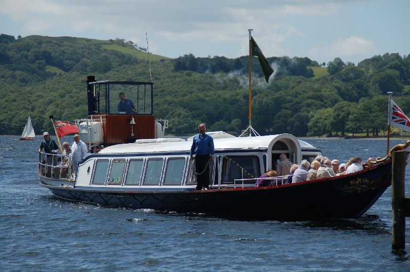 '1.30 pm. another visit by the Gondola' at Brantwood Jetty, Coniston. Quote and photo courtesy of www.lakelandcam.co.uk.