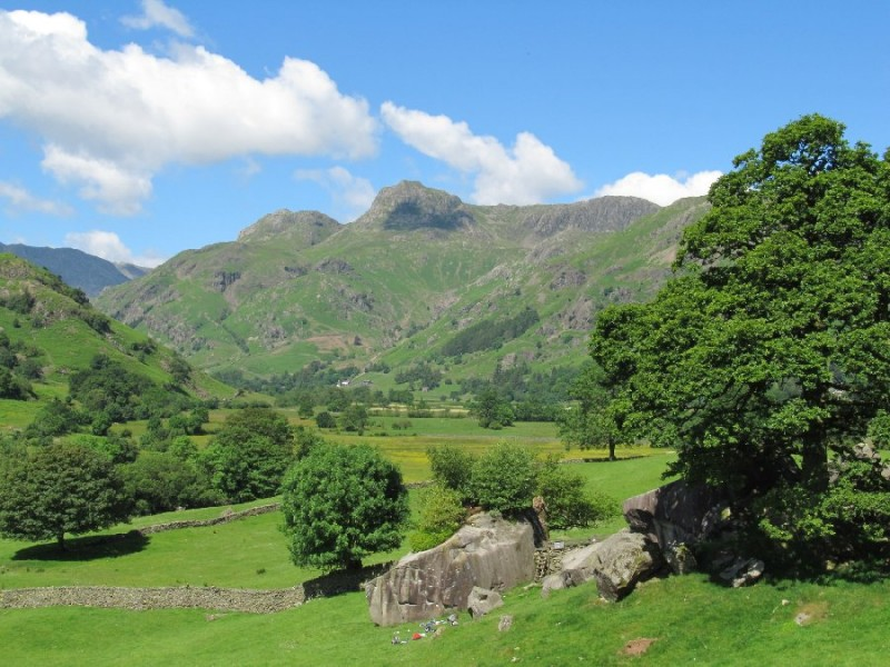 'By St Annes, the classic view of Great Langdale at midday.' Quote and photo courtesy of www.lakelandcam.co.uk.)