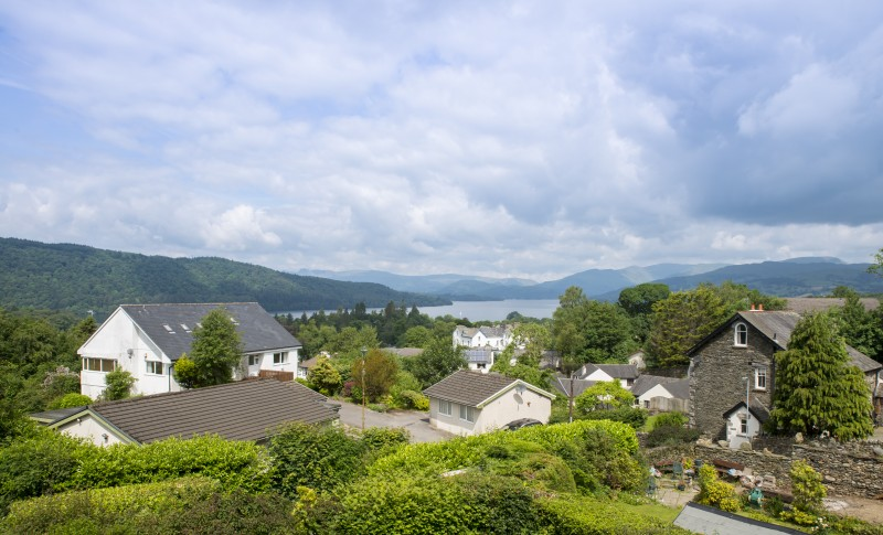 The view from our bedrooms at Blenheim Lodge facing to the north of Lake Windermere and beyond.