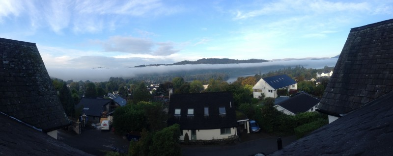 An attempt to take a panoramic image of the inversion above Lake Windermere as seen from one of our rooms at Blenheim Lodge.