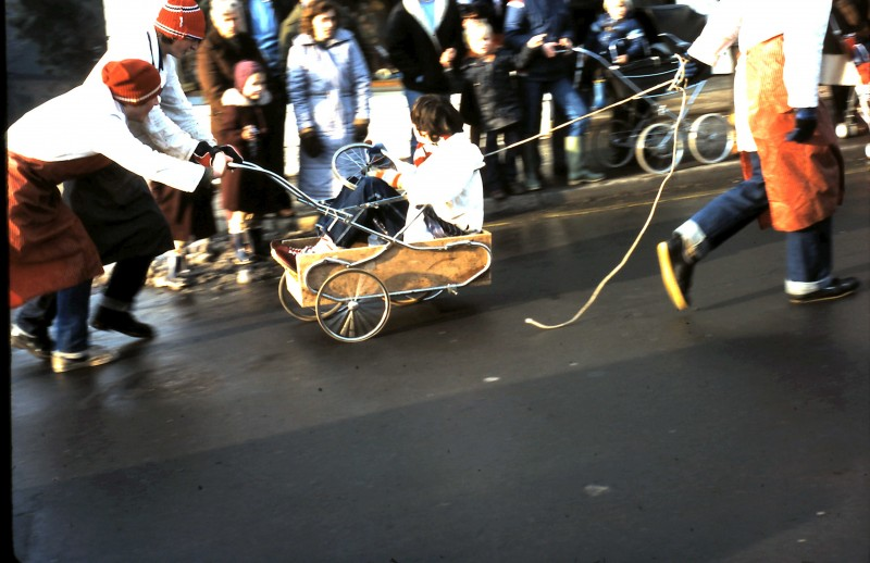 An old photo by Pippa Wilson of a Windermere Pram Race event courtesy of http://www.windermerepramrace.co.uk/library-of-old-photos/.