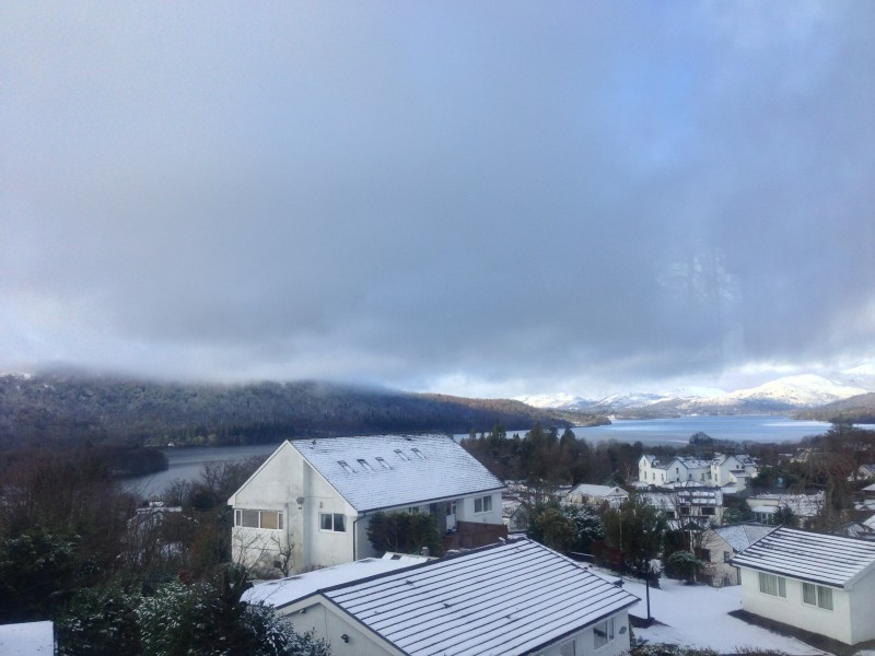 A snowy view from one of our bedrooms at Blenheim Lodge.