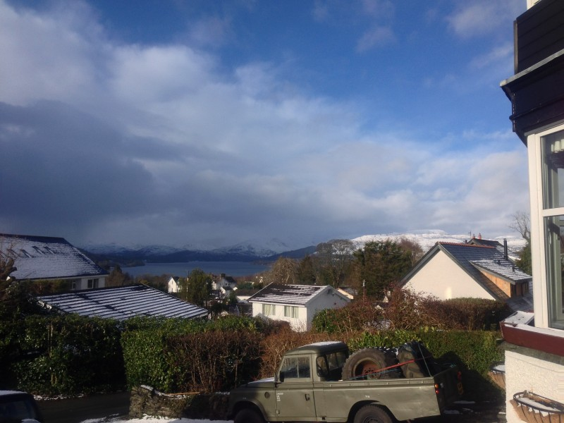 Here is the view from Blenheim Lodge Guest House. Did it really snow just 20 minutes ago?