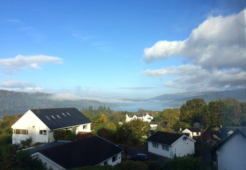 This view of Lake Windermere and the fells was snapped from The Eyrie, one of our single en-suite rooms.