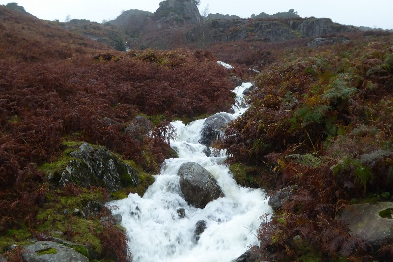 This is 'normally a tiny beck coming down from Goat's Crag'. Photo and quote from www.lakelandcam.co.uk.