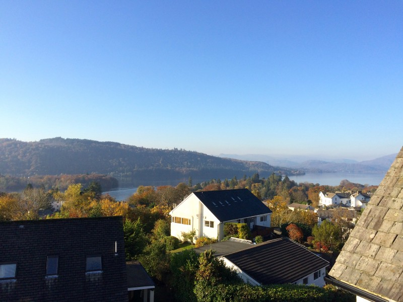 Far reaching views of Lake Windermere and the fells as seen from The Attic bedroom at Blenheim Lodge. (2 November 2015)