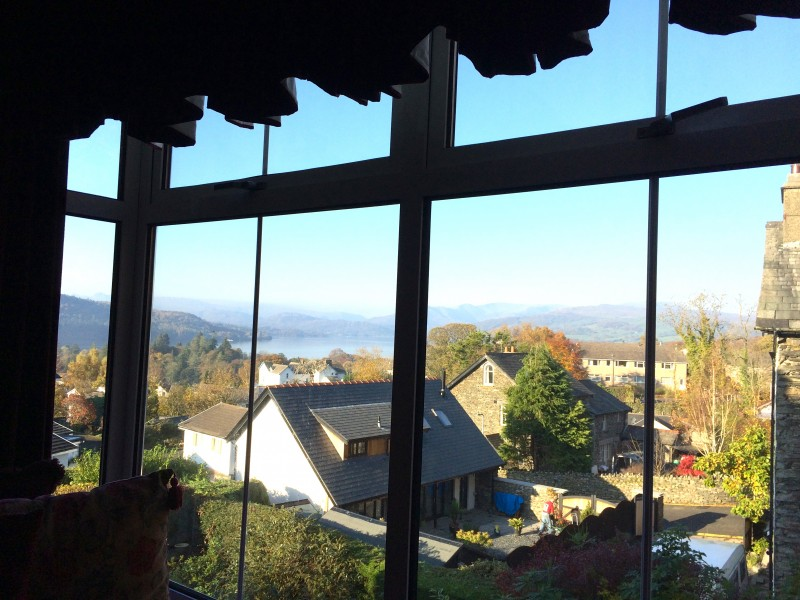 Looking to the north of Lake Windermere and the fells from The Fairfield bedroom at Blenheim Lodge. (2 November 2015)