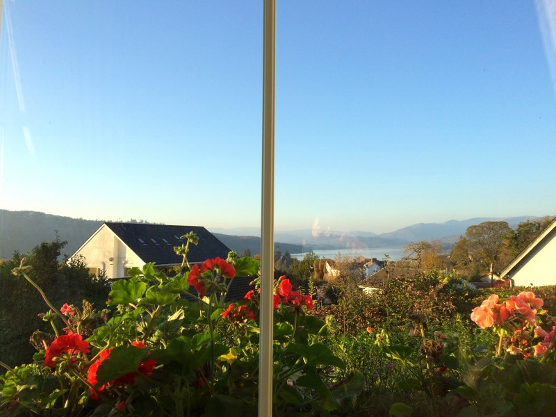 The view of Lake Windermere and the fells from our lounge window at Blenheim Lodge. Don't the flowers look pretty?