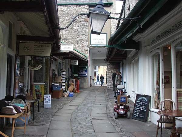'New Shambles Lane follows an ancient path, Watt Lane, wihch ran through property owned in the 18th Century by the Trustees of the Market Place Chapel. It became the New Shambles in 1804, when the property was redeveloped as 12 butchers' shops.' Photo by Matthew Emmott at http://www.visitcumbria.com/sl/kendal-newshambles/.