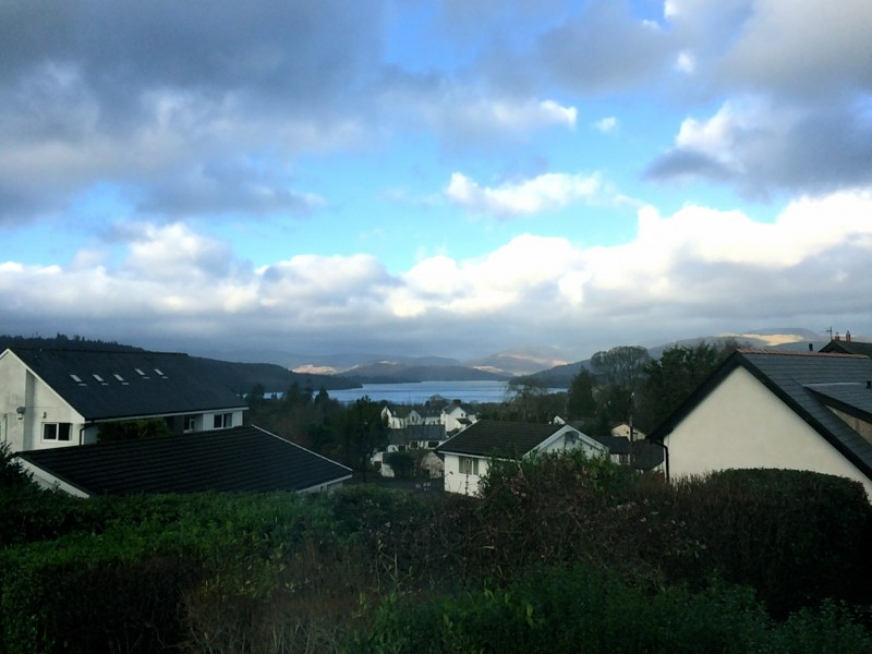 From our porch, just seconds apart from the photo above, can be seen a sudden sharp delineation and definition of the far away fells which form a backdrop to Lake Windermere.
