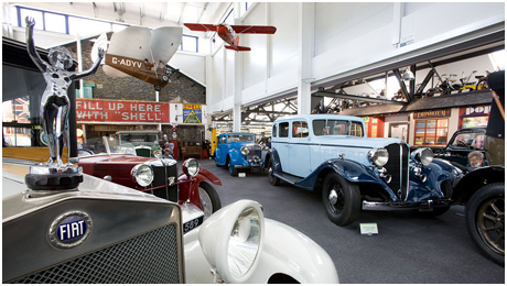 A selection of cars at Lakeland Motor Museum, which is easily accessible by public,  private, or ferry transport from Bowness-on-Windermere. Buses and ferries may be boarded just a 5-minute walk from Blenheim Lodge.(Photo courtesy of http://www.lakelandmotormuseum.co.uk/motorcars.php.)