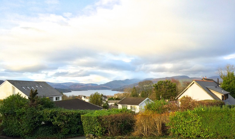 Today's view of Lake Windermere and the fells from our guest house, Blenheim Lodge B&B.
