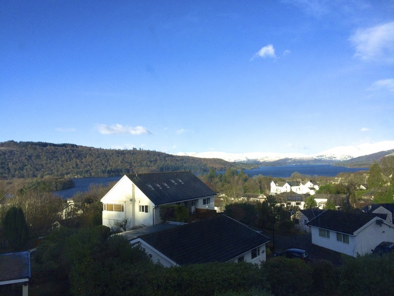 The magnificent view of Lake Windermere and the surrounding fells from our accommodation at Blenheim Lodge Bed and Breakfast.