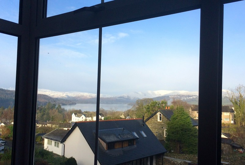 The view from The Fairfield this morning. The Fairfield is our largest bedroom and has far-reaching views of Lake Windermere and the fells from humongous floor to ceiling bay windows.