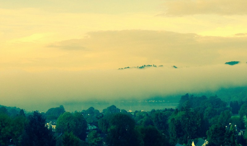 Snapped from Blenheim Lodge B&B in Bowness-on-Windermere: Inversion over Windermere.