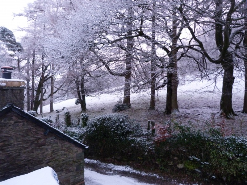 Snowing on Brantfell, the fell into which our guest house nestles peacefully. We at Blenheim Lodge are really blessed to have fabulous countryside views at the back of the house and Lake Windermere views from the front and side of our Bowness guest house.