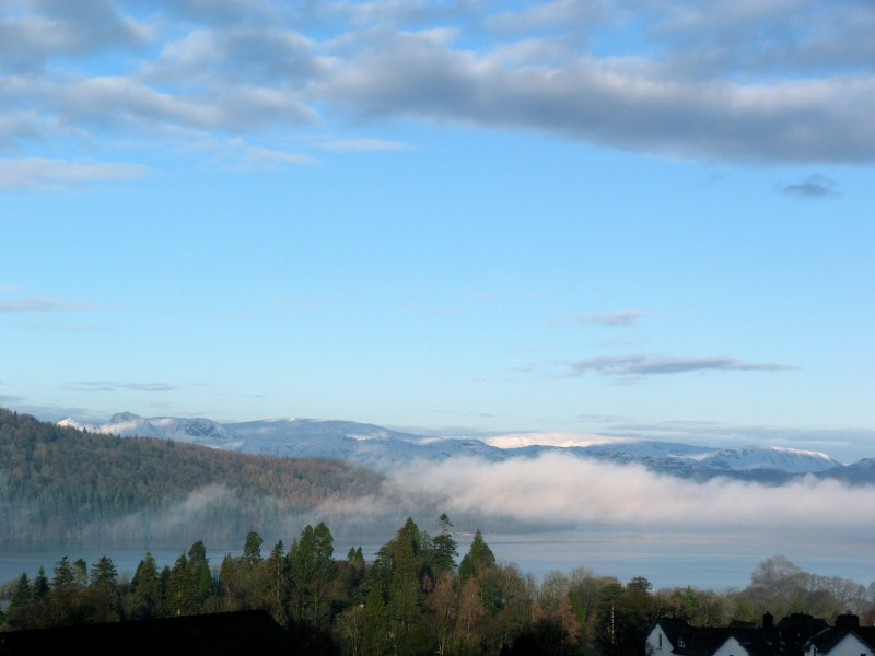 This photo of an inversion over Lake Windermere was taken from The Langdale bedroom at Blenheim Lodge B&B.
