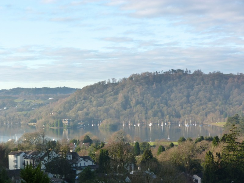 A tranquil outlook from The Attic bedroom at Blenheim Lodge B&B: Lake Windermere lies still and serene as the last mists of an inversion disperses.