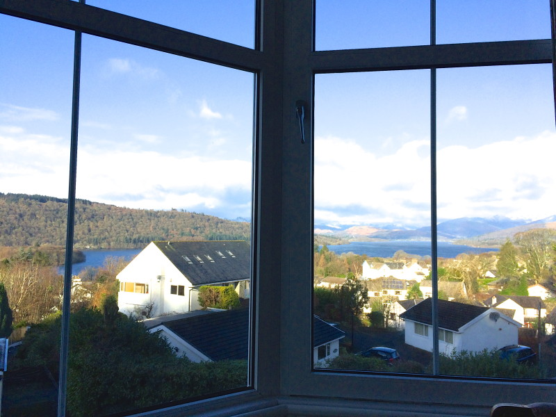 The view of Lake Windermere and the fells on 3rd February 2016 taken from one of our bedrooms at Blenheim Lodge.