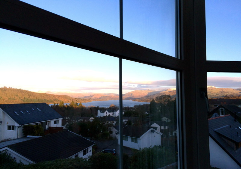 The view of Lake Windermere from one of our guest rooms at Blenheim Lodge.