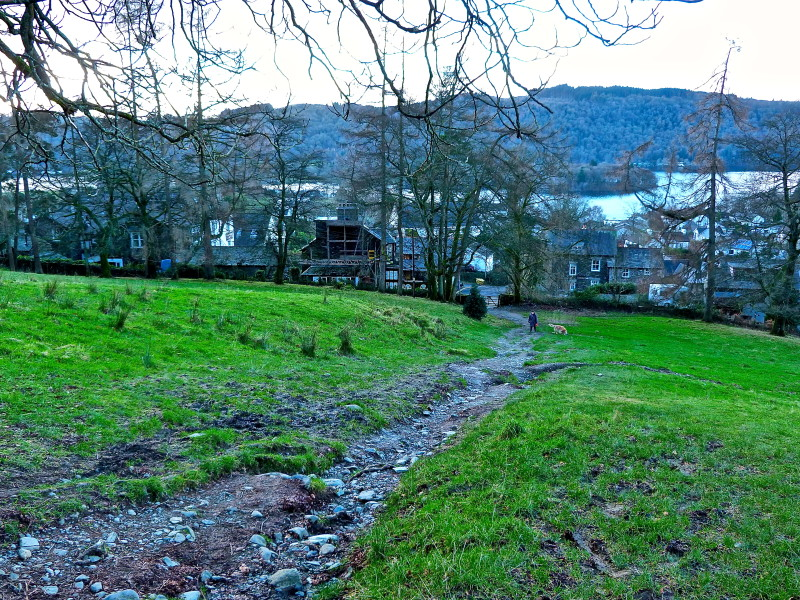 Looking down The Dales Way towards Lake Windermere. The large white house on the left hand side is our Bowness guest house, Blenheim Lodge.