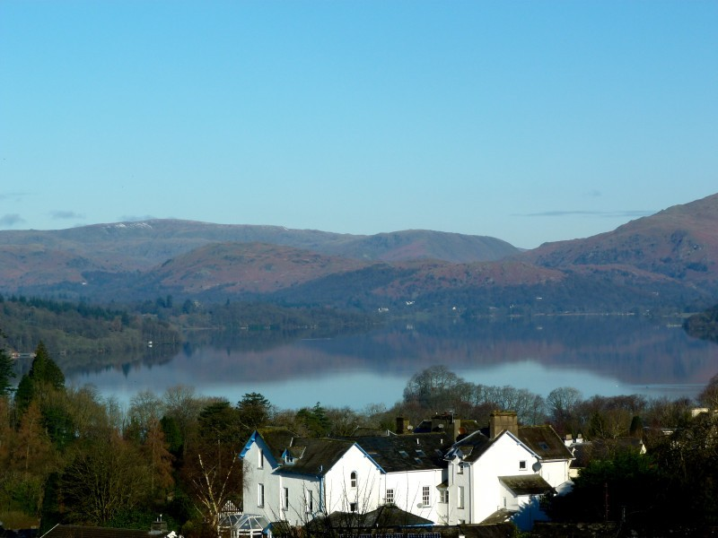Lake Windermere and the fells photographed from our B&B accommodation at Blenheim Lodge, Bowness.