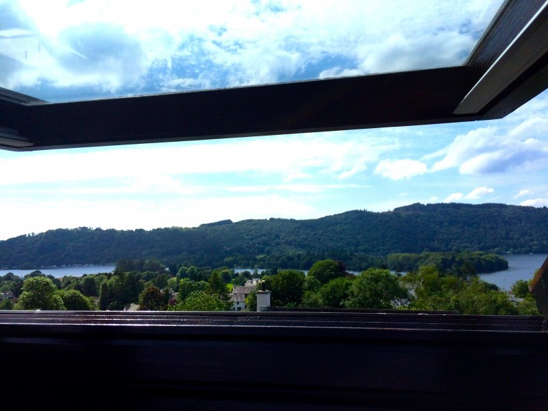 A bird's eye view of Lake Windermere and the mountains from The Attic room!