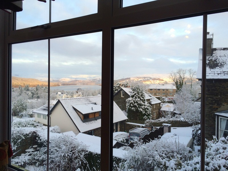 January 2016 winter view from The Fairfield bedroom. You can just see the edge of a cushion on the daybed in this photo