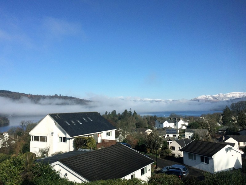 This morning's inversion from our porch at Blenheim Lodge B&B, Bowness.