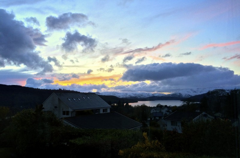 On the same evening, a photo of the same sunset over Windermere. This photo was snapped from our lounge windows at Blenheim Lodge.