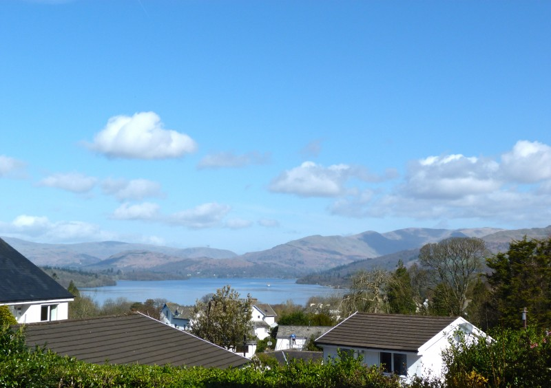 The view of Lake Windermere and fells from our porch at Blenheim Lodge.