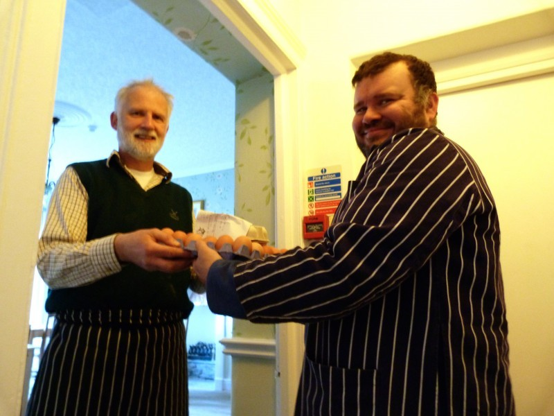 Our butcher delivers fresh free range eggs, hand made sausages and hand cured and handmade bacon to our door.
