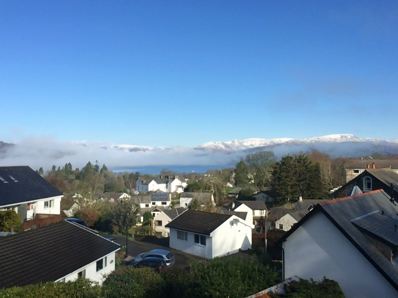 The inversion this morning as seen from our lounge at Blenheim Lodge guest house in Bowness-on-Windermere.