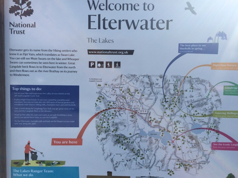 Sign for Elterwater in the car park.