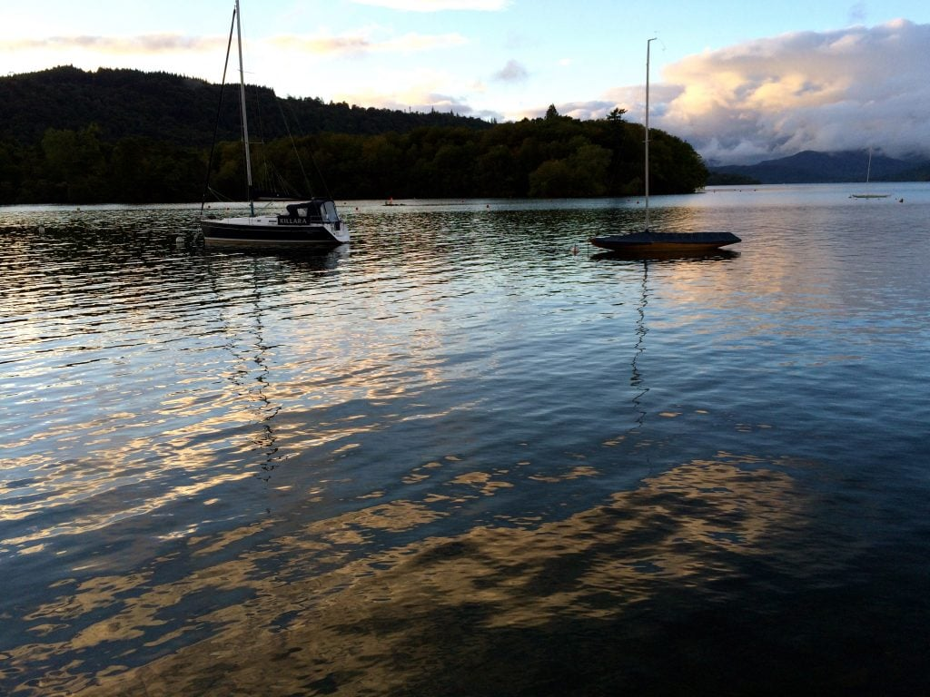 On an evening walk, we saw Windermere looking gorgeous with its sparkling gold-lit waters.