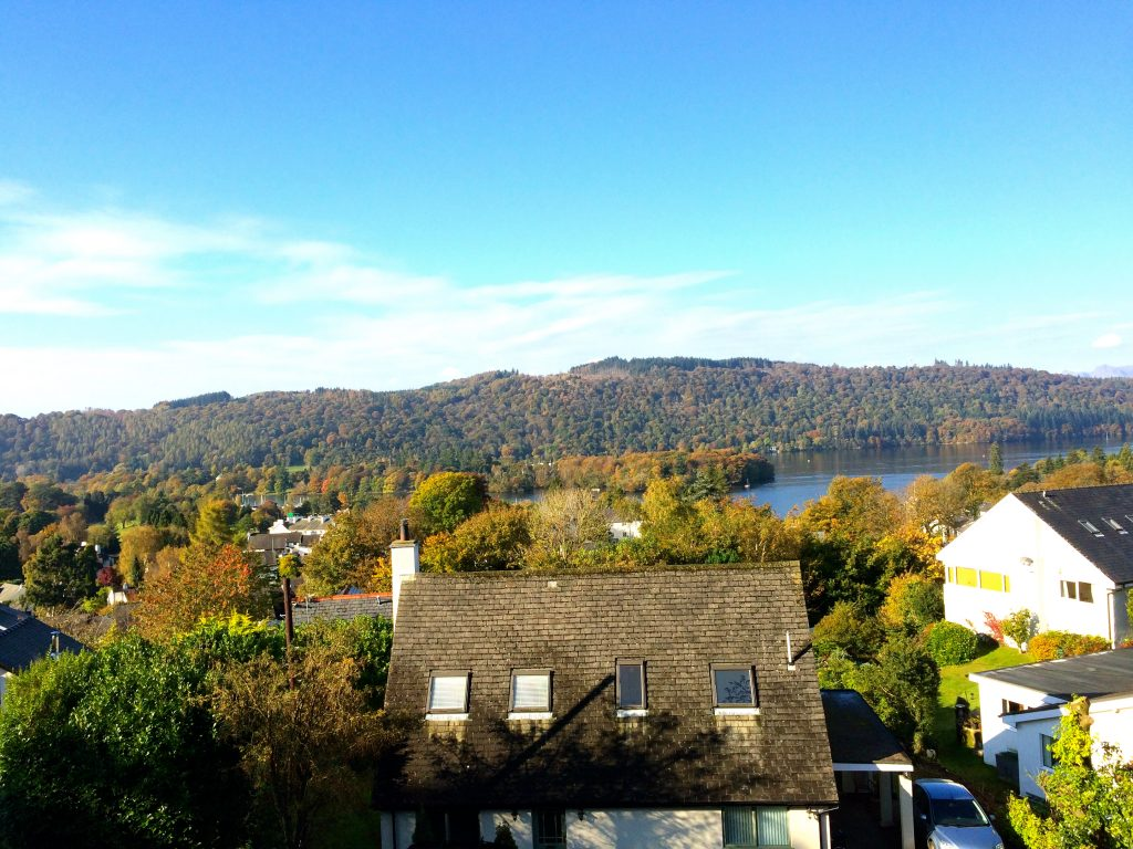 This far-reaching view takes in the Claife Heights mountains framing Lake Windermere that we see from our guest rooms.