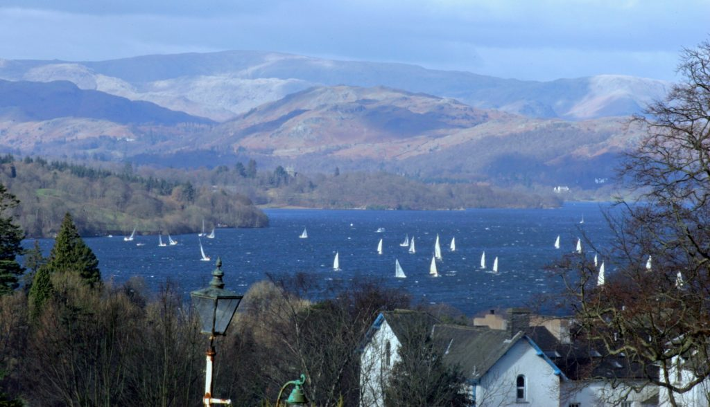 Snapped from Blenheim Lodge: a picture of yachts sailing on Lake Windermere