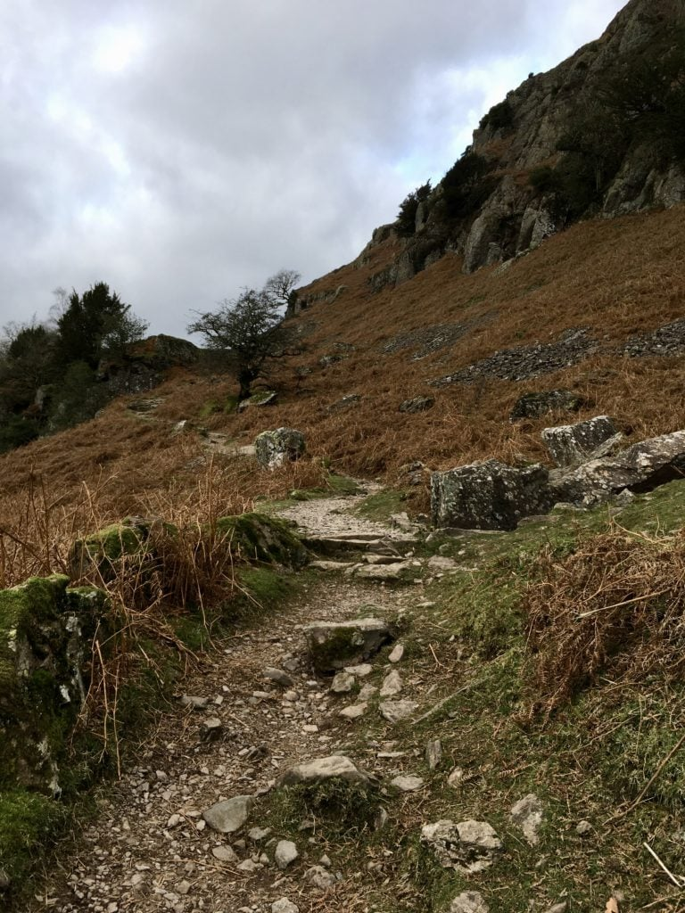 rocky path, helm crag, walking in the Lakes, fell